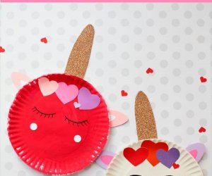 Paper plate Valentines Day Unicorn Craft