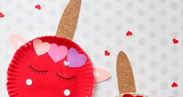 Paper plate Valentines Day Unicorn Craft