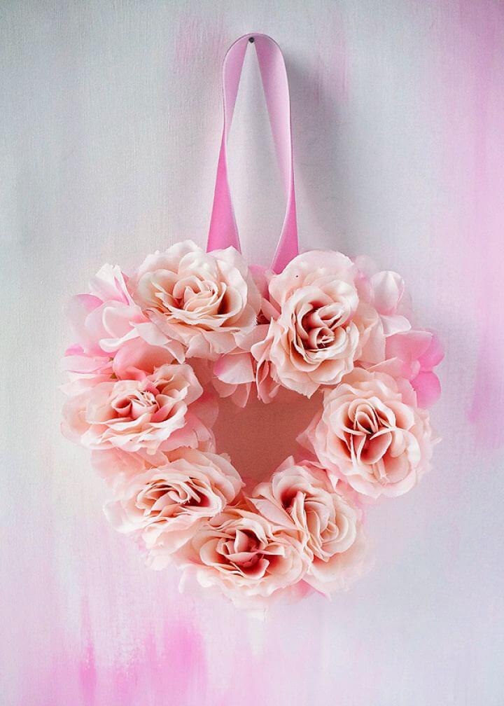 Quick DIY Floral Heart Spring Wreath