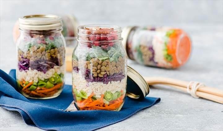Rainbow Lentil Mason Jar Salad