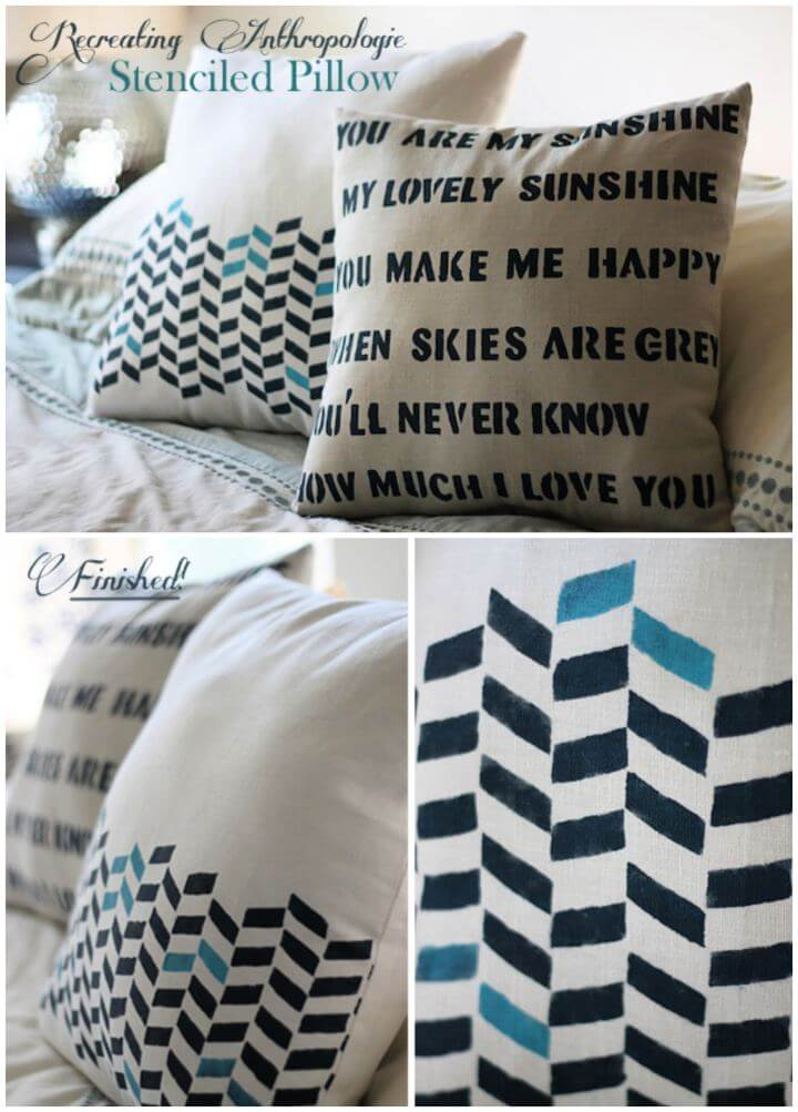 Recreating Anthropologie Stenciled Pillow For Home