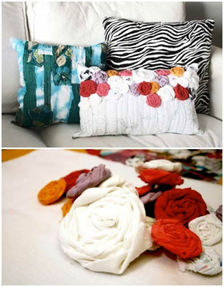 Recycled Roses Pillow For Home Decor Tutorial