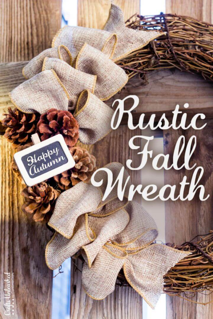 Rustic DIY Fall Door Wreath Tutorial