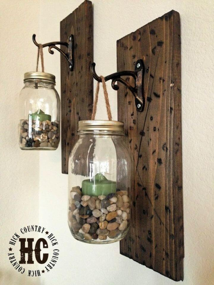 Rustic DIY Mason Jar Wall Hanging Lanterns