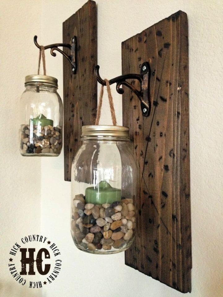 Rustic DIY Mason Jar Wall Hanging Lanterns