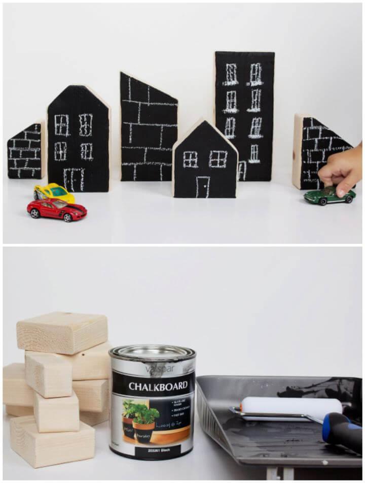 Simple DIY Chalkboard City Blocks