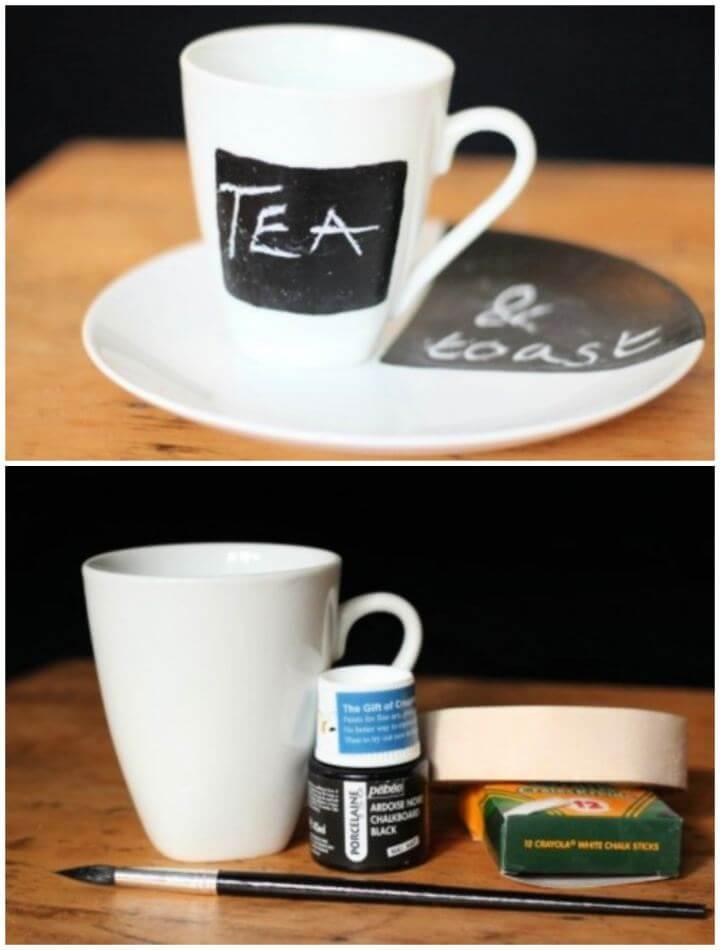 Simple DIY Chalkboard Mug And Plate