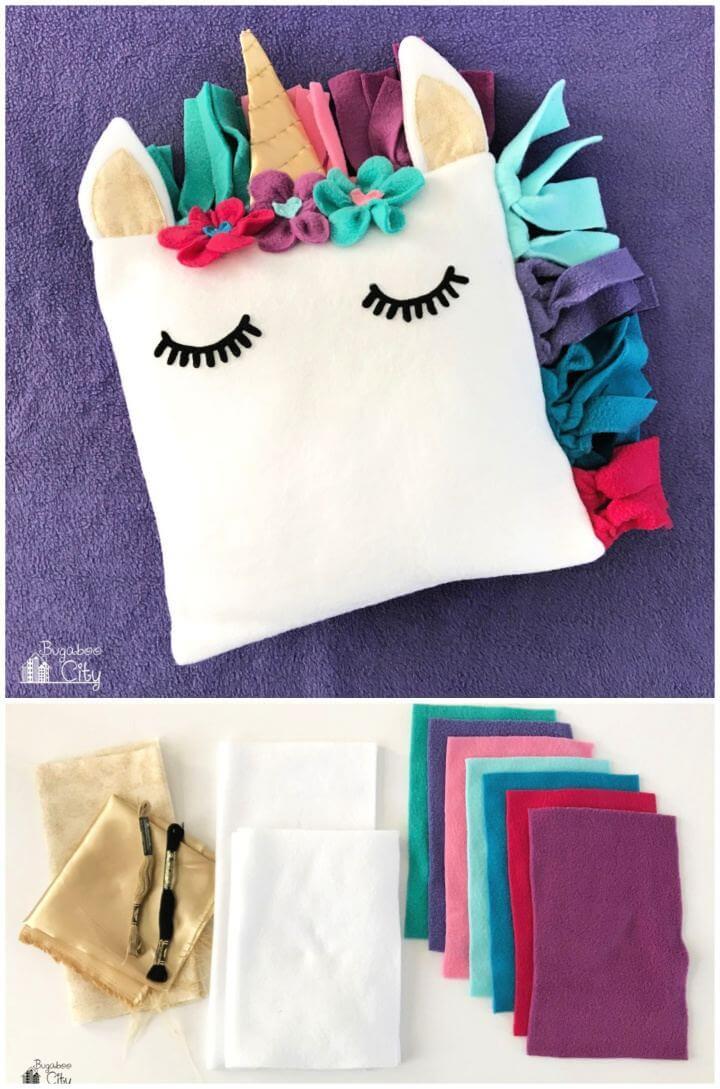 Simple DIY Fleece Unicorn Pillow