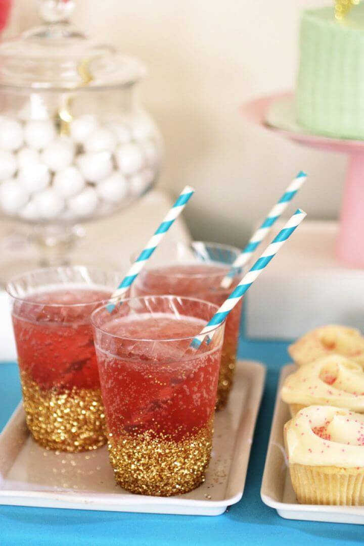 Simple DIY Glitter Dipped Cups