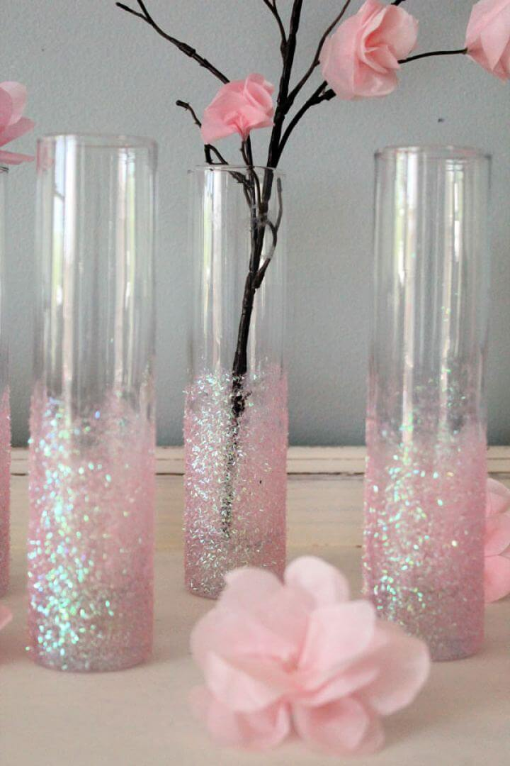 Simple DIY Glittery Pink Vases