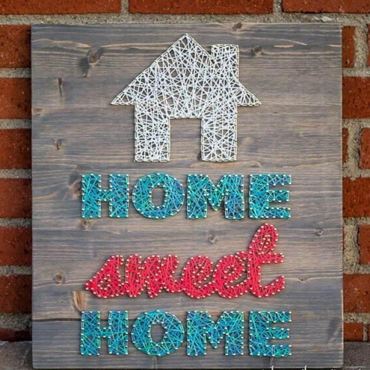 Simple DIY Home Sweet Home String Art