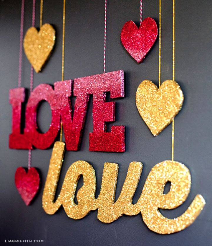 Simple DIY Love Banners In Pink Ombré And Gold Glitter