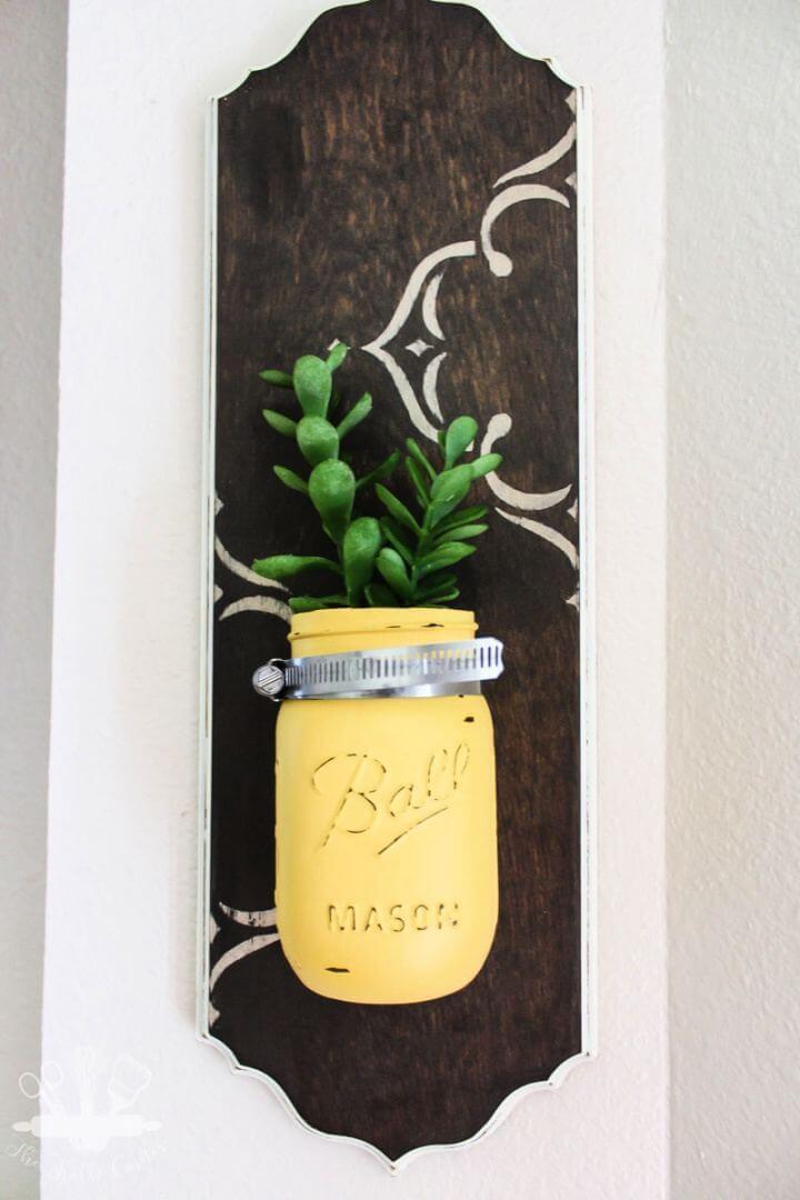 Simple DIY Mason Jar Wall Hanging Vases