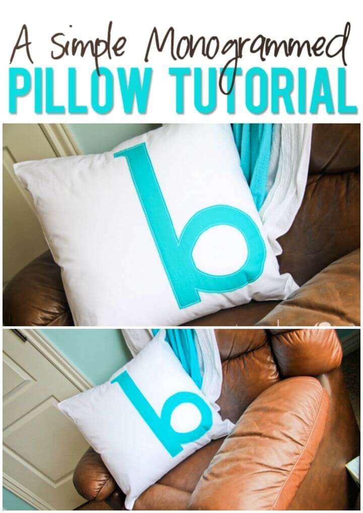 Simple DIY Monogrammed Pillow For Home Decor