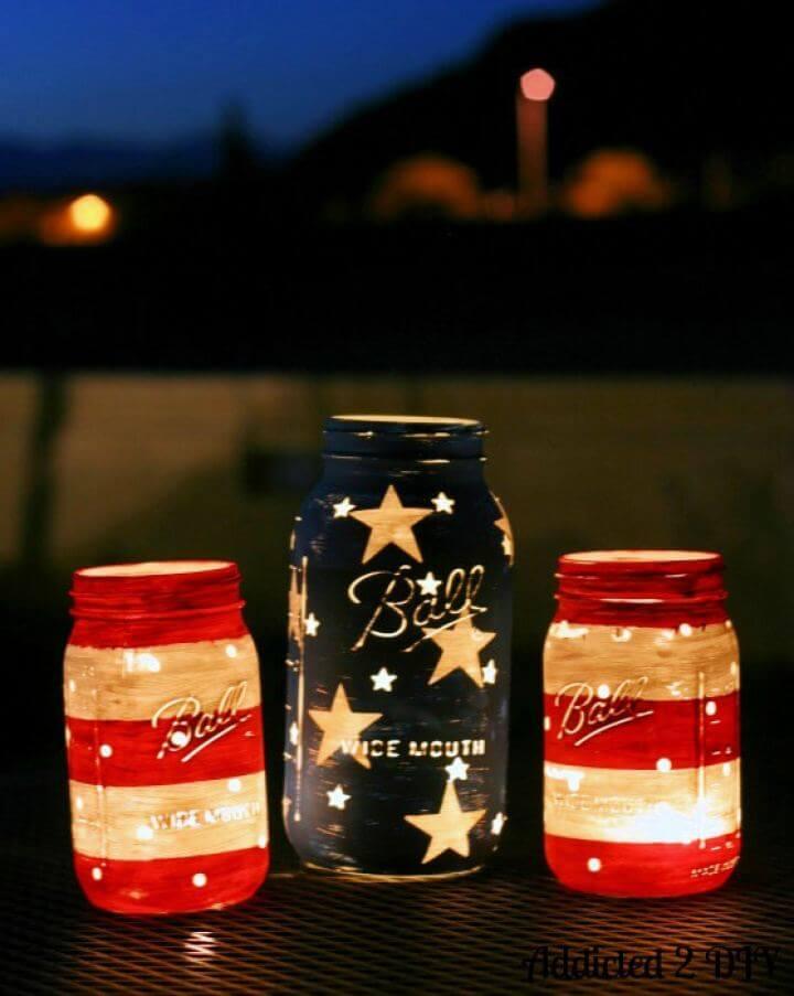 Simple DIY Patriotic Mason Jar Lanterns
