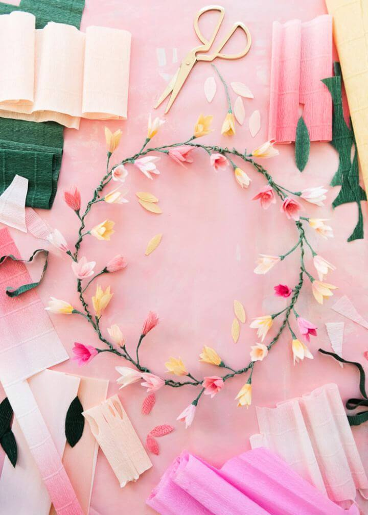 Simple DIY Pink Paper Blossom Spring Wreath
