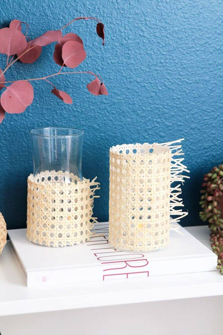 Simple DIY Rattan Candle Holders