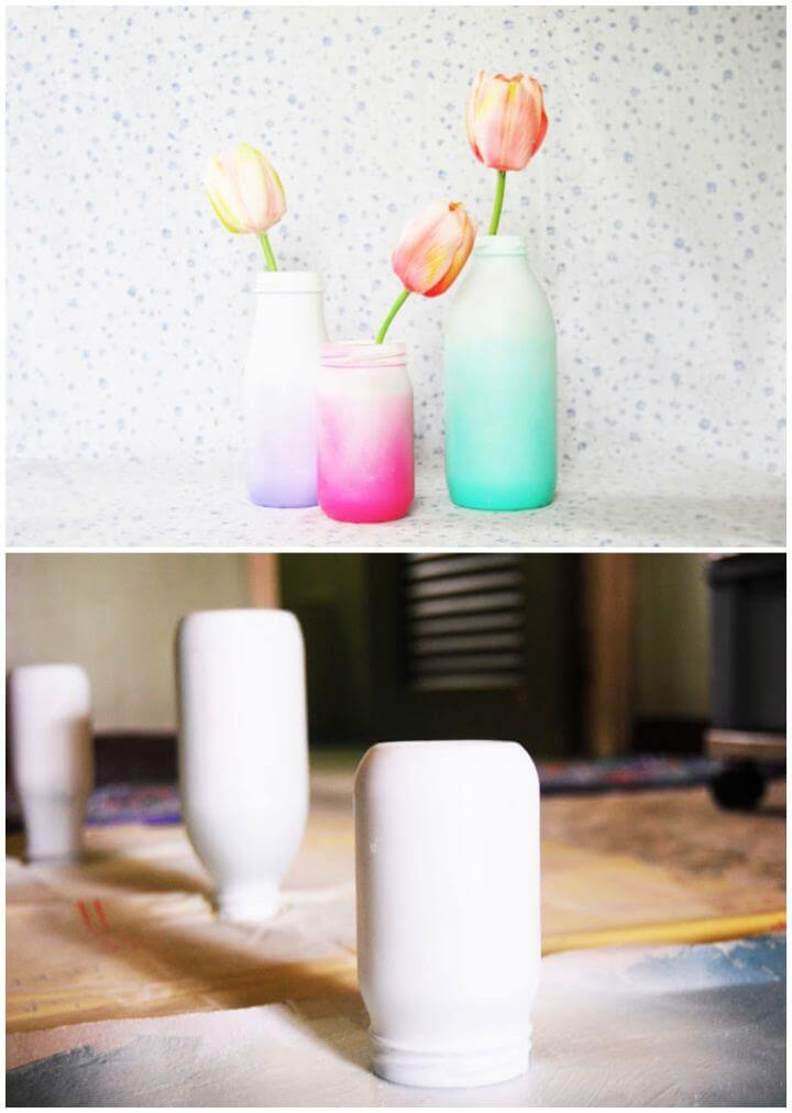 Simple DIY Spray Painted Ombre Glass Bottles