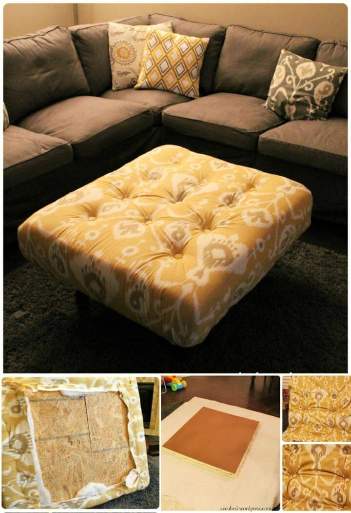 Simple DIY Tufted Ikat Ottoman For Living Room