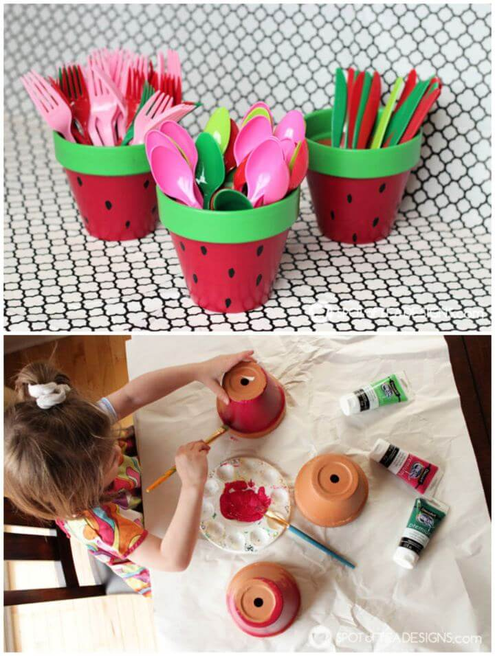 Simple DIY Watermelon Utensil Holders from Terracotta Pots