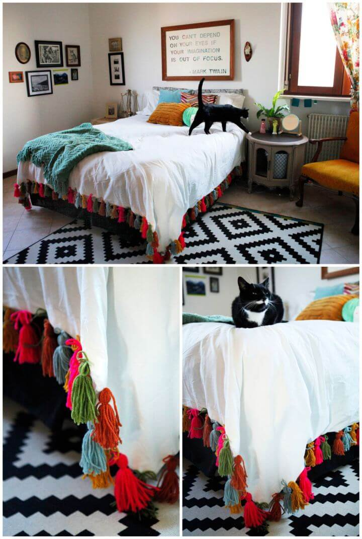 Simple DIY Yarn Tassel Duvet Blanket