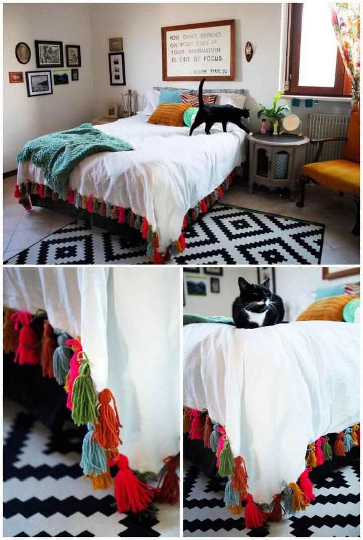 Simple DIY Yarn Tassel Duvet Blanket