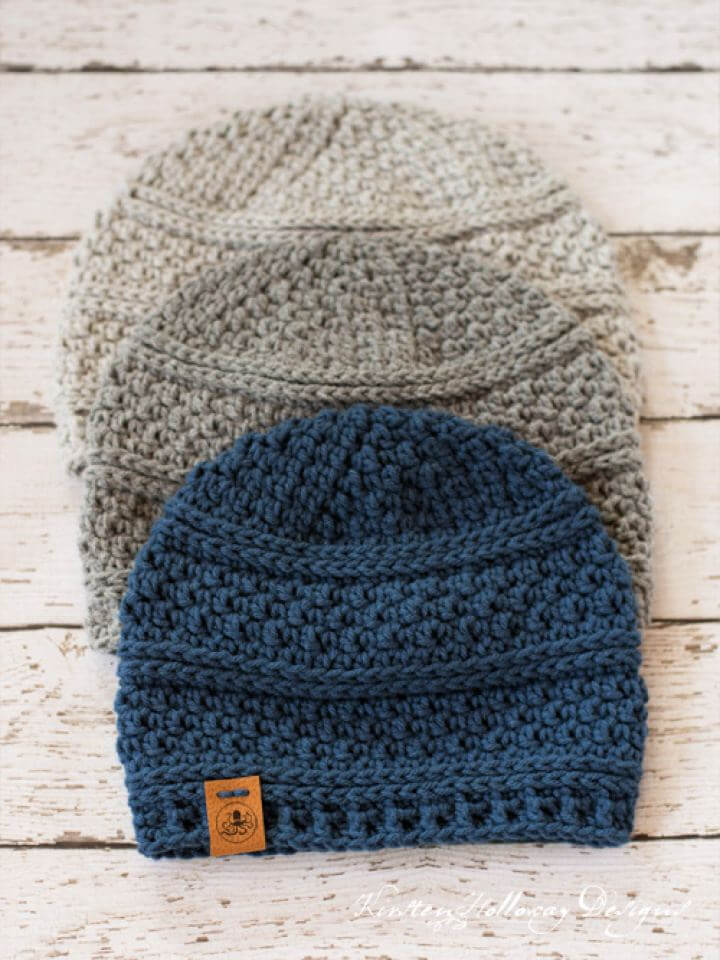 Simple Seed Stitch Beanie Crochet Hat Pattern
