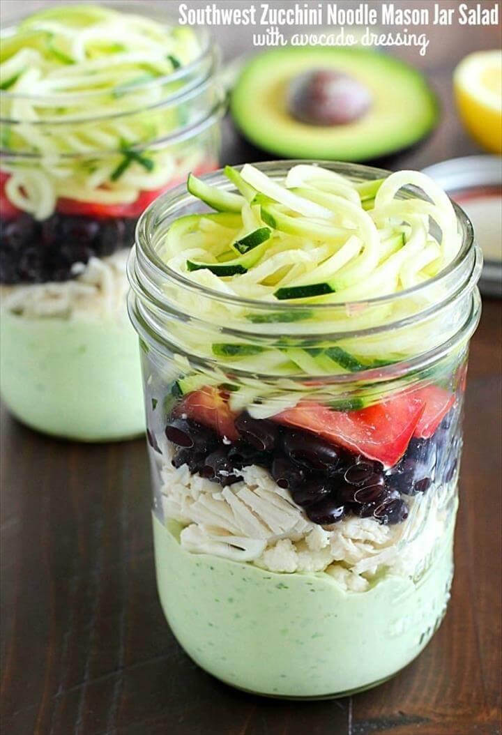 Southwest Zucchini Noodle Mason Jar Salad