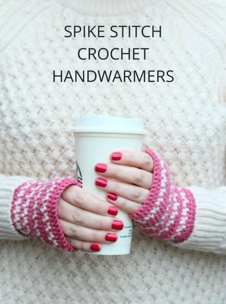 Spike Stitch Crochet Handwarmers Pattern For Beginners