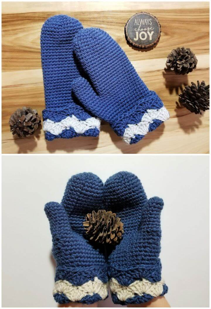 Wavy Shells Mittens Crochet Gloves