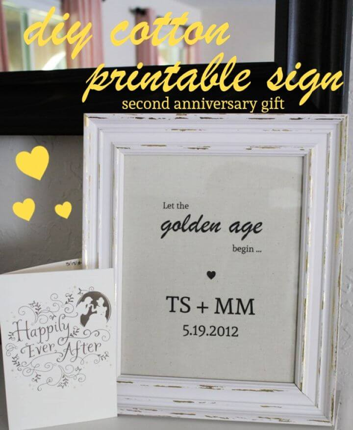 2nd Anniversary Gift DIY Cotton Printable Sign