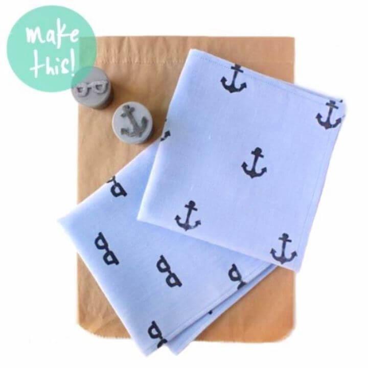Build A DIY Hand Stamped Handkerchief For Dad