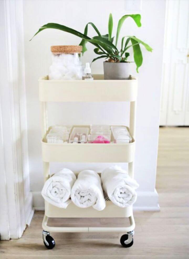 Build A DIY Ikea Cart Bathroom Organizer
