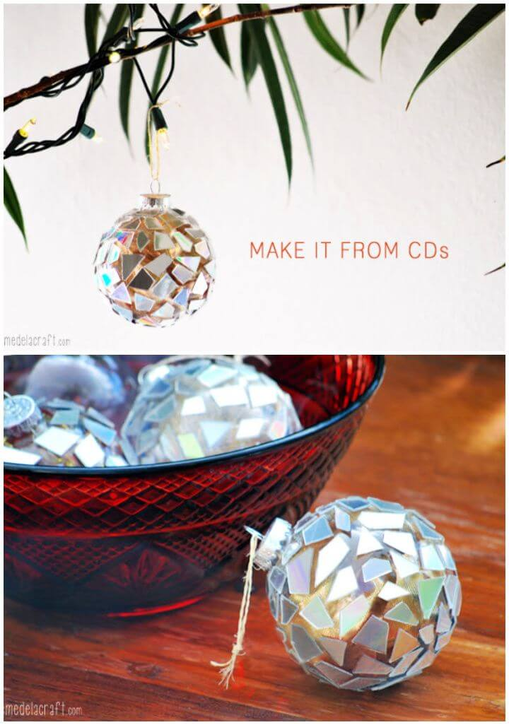 Build A DIY Mosaic Ornaments from CDs