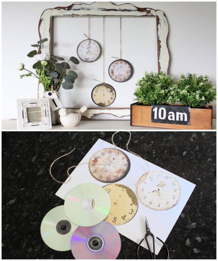 Build A DIY Vintage Farmhouse Clock Faces Using Old CDs