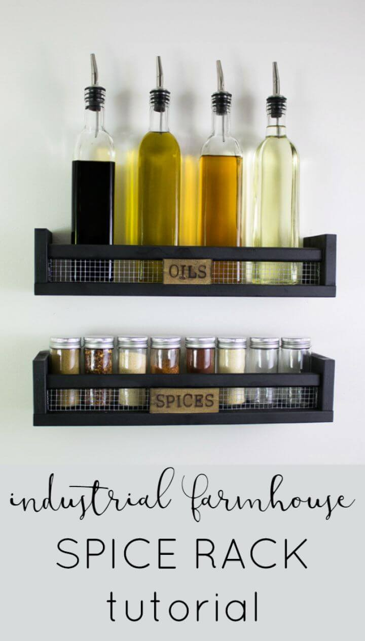 Build Your Own DIY Rustic Wall Mounted Spice Rack