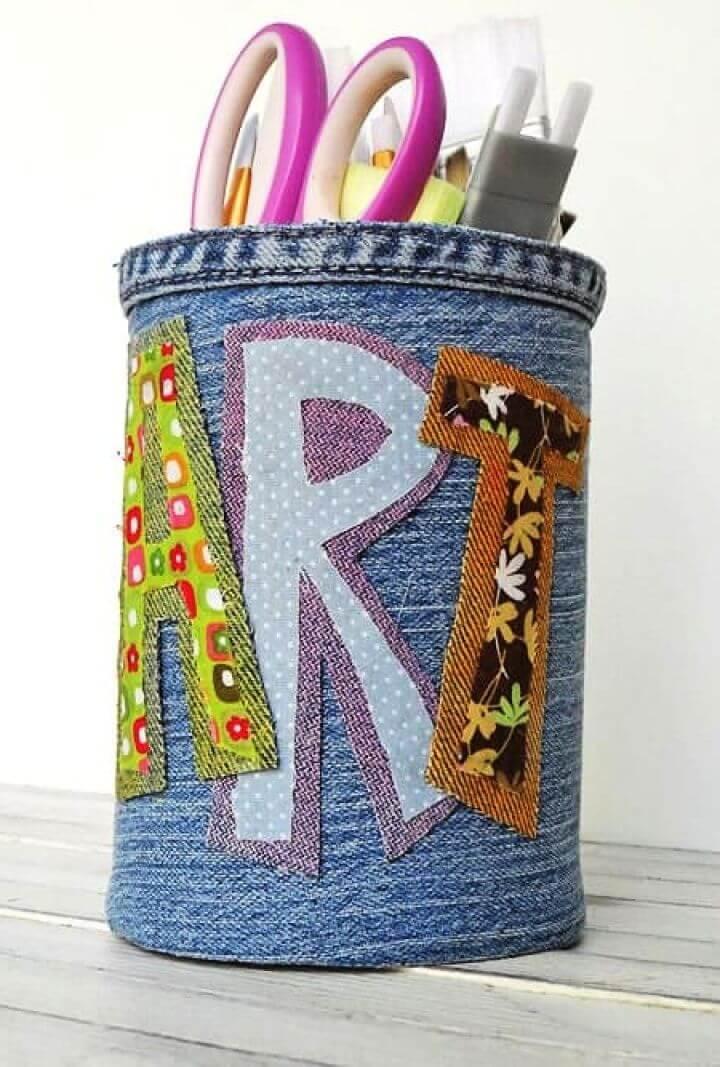 Create A DIY Denim Covered Pencil Can