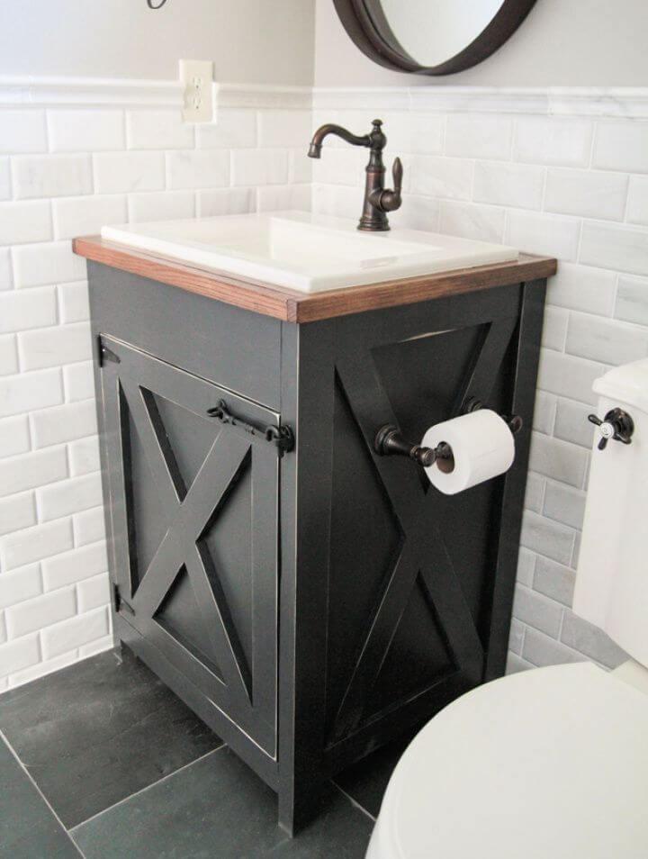 Create A DIY Farmhouse Bathroom Vanity