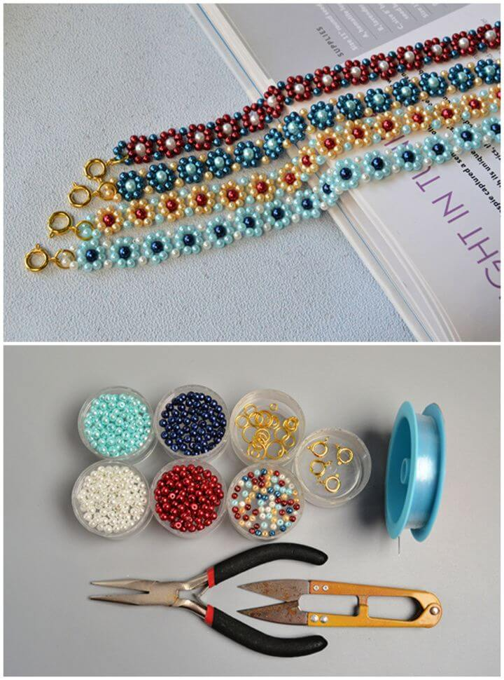 Create A DIY Fresh Colored Pearl Beaded Flower Bracelets