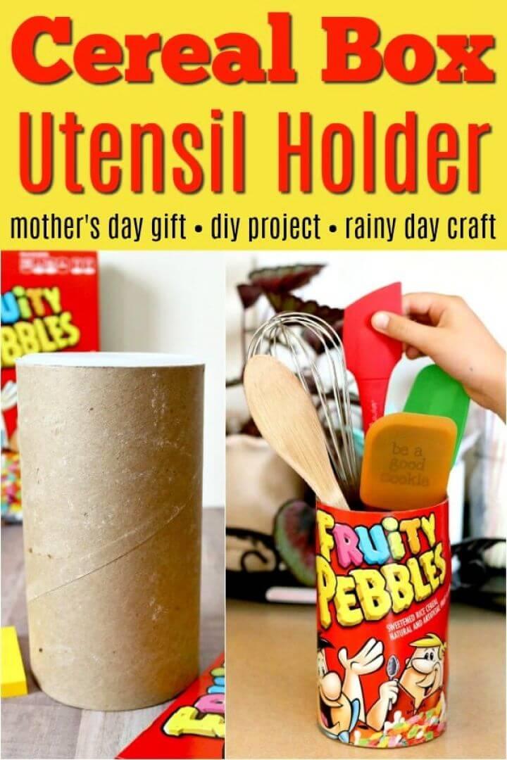 Create A DIY Fruity Pebbles Cereal Box Utensil Holder