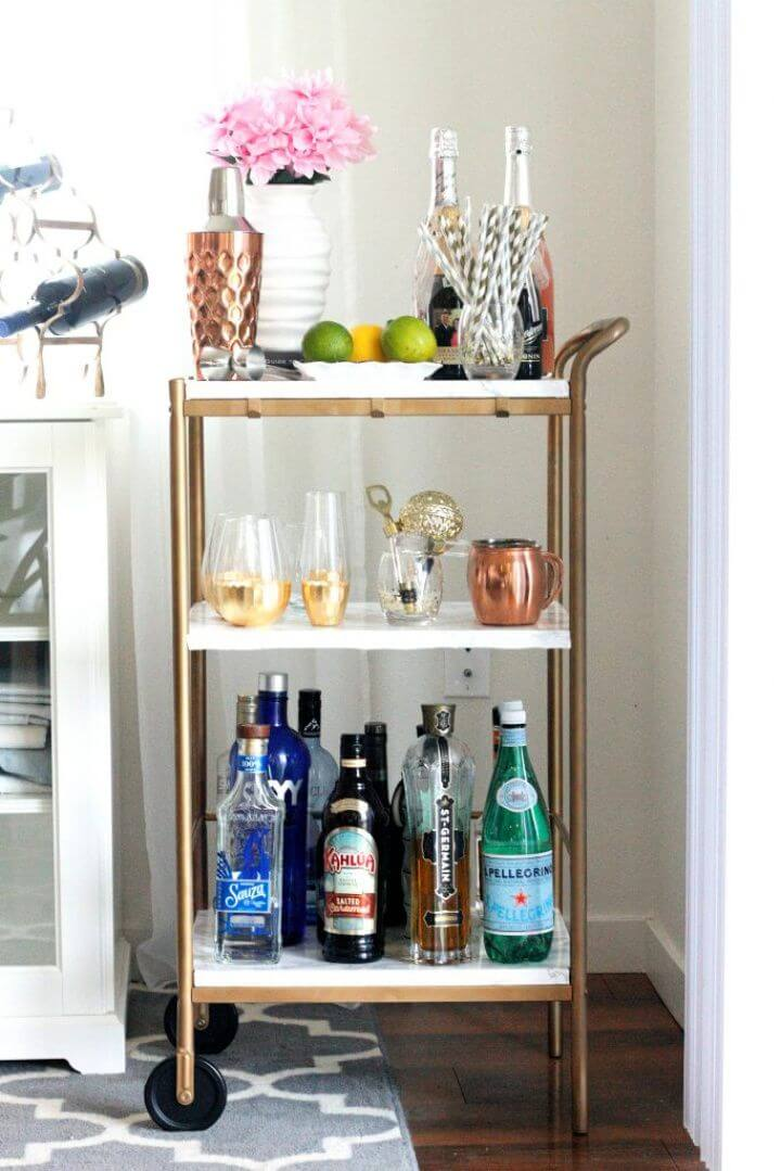 Create A DIY Marble Gold Bar Cart
