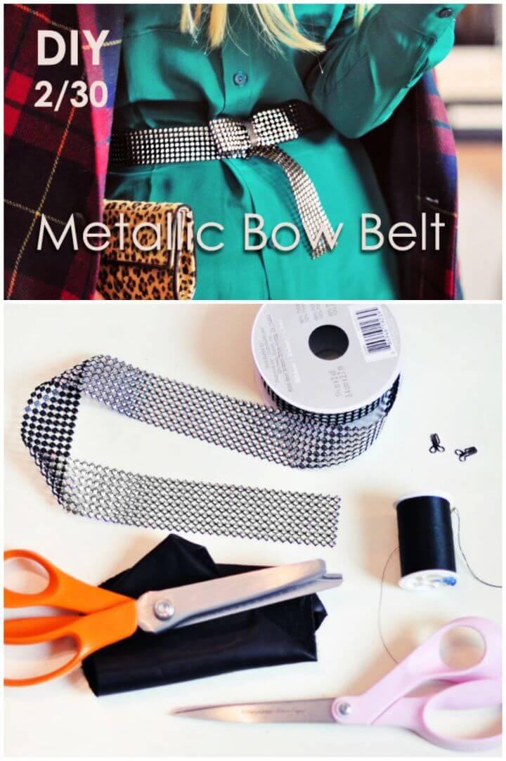 Create A DIY Metallic Studded Bow Belt