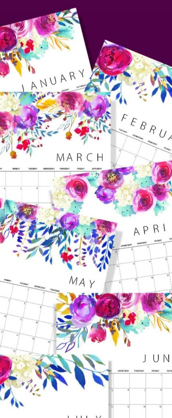 Create A DIY Printable Floral Calendar