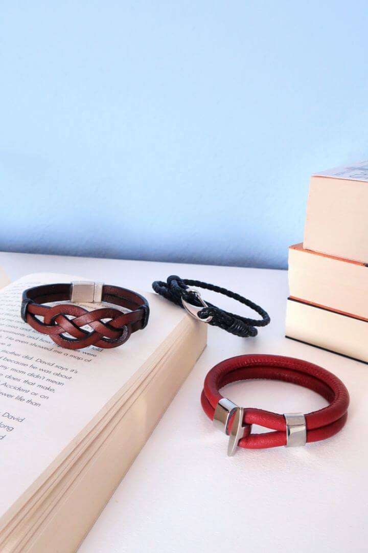 Cute DIY 3 Styles Of Leather Bracelets For Guys