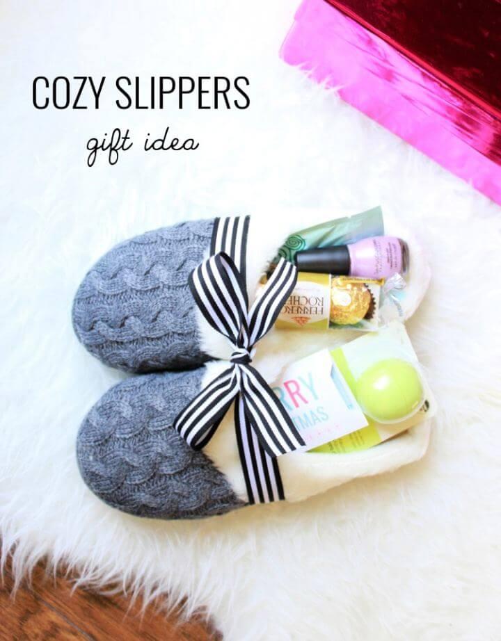 Cute DIY Cozy Slippers Gift Idea