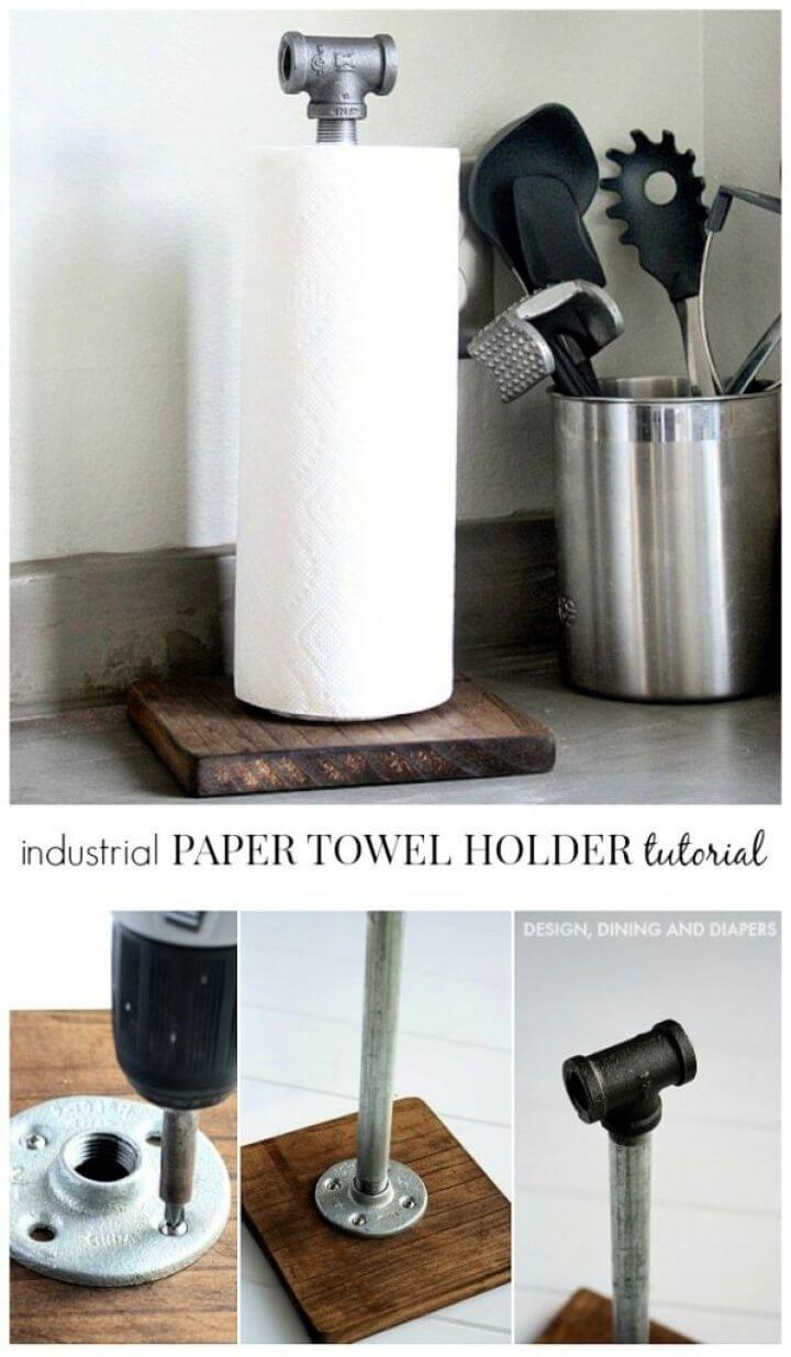 Cute DIY Industrial Paper Towel Holder