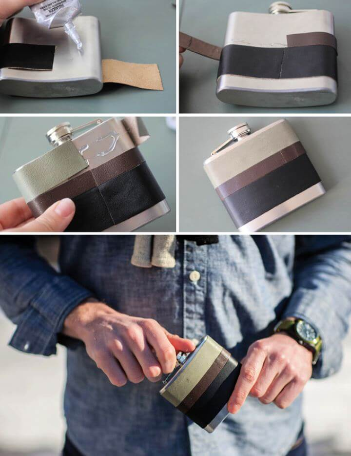 Cute DIY Leather Wrapped Flask For Men