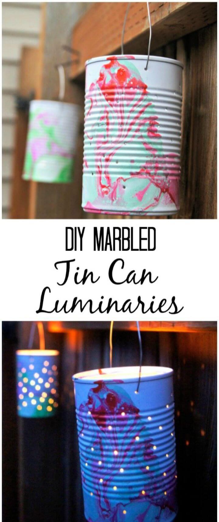Cute DIY Marbled Tin Can Luminaries