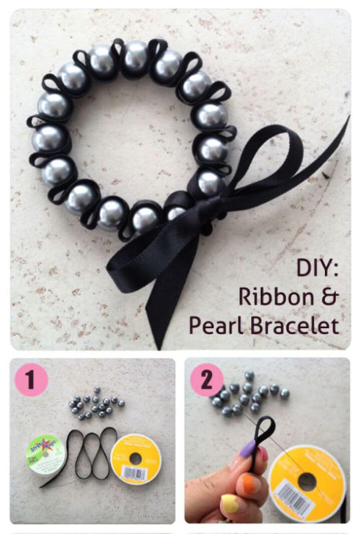 Cute DIY Ribbon Pearl Bracelet Tutorial