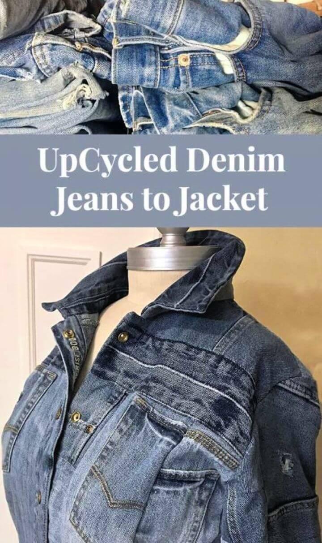 Cute DIY Upcycle Denim Jeans to Jacket